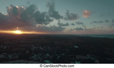 Mauritius Island at sunset, aerial view - Aerial shot of...
