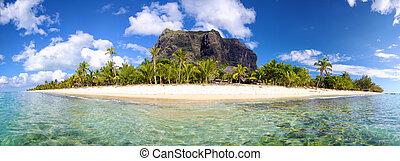 Mauritius Island panorama with Le Morne Brabant mount