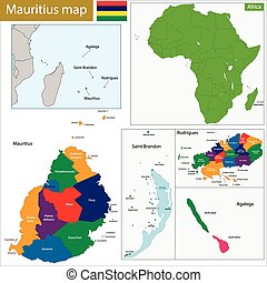 Mauritius political map with capital port louis the islands
