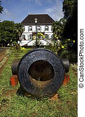 mauritius, naval, museu, flor, e, bush