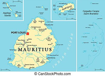 Mauritius Political Map with capital Port Louis, the islands Rodrigues and Agalega and with the archipelago Saint Brandon. English labeling and scaling. Illustration.