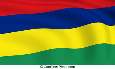mauritius, vliegen, vlag, looped, |