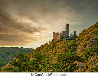 Maus Castle at sunset, Rhine Valley (Rhine Gorge) near St. Goarshausen, Germany. Built in 1386