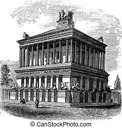 Mausoleum at Halicarnassus or Tomb of Mausolus vintage engraving