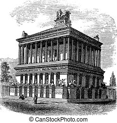 Mausoleum at Halicarnassus or Tomb of Mausolus vintage engraving
