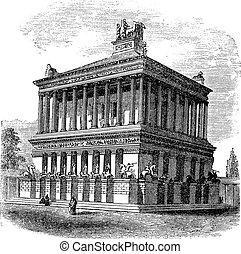 Mausoleum at Halicarnassus or Tomb of Mausolus vintage engraving. Old engraved illustration of Mausoleum at Halicarnassus during 1890s.