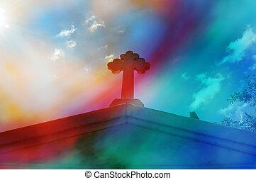 mausoleum cross abstract - Mausoleum cross against blue sky...