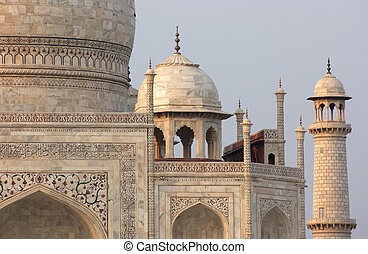 mausoleum named Taj Mahal in Agra, India at evening time