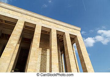 Bottom view of Anitkabir, mausoleum of turkish leader Ataturk, on bright blue sky background.