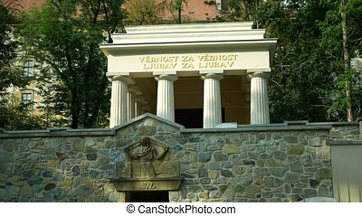 Mausoleum of Yugoslav soldiers, South Slavic mausoleum in the park, monumental neoclassicism from 1926, died in Olomouc military hospitals, architectural monument, landmark significant