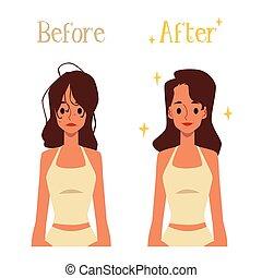 mauvais, femme, cheveux, coiffure, avant, matin, dessin animé, après, routine, bon