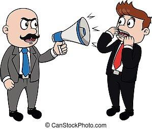 mauvais, porte voix, fâché, patron