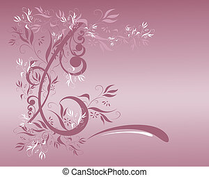 Mauve Floral - Computer illustration: mauve floral design on...