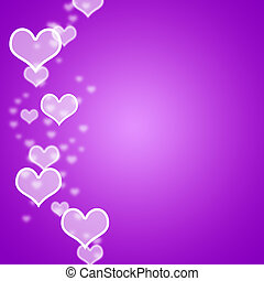 Mauve Hearts Bokeh Background With Blank Copyspace Showing Loving And Romance