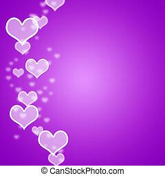 mauve, hjärtan, bokeh, bakgrund, med, tom, copyspace,...
