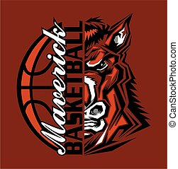 maverick basketball team design with half mascot for school...