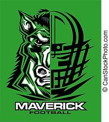 maverick football team design with half mascot and facemask ...