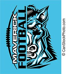 maverick football team design with half mascot and laces and...