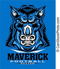 maverick football team design with mascot face and laces and...