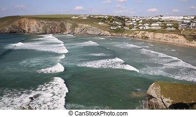 Mawgan Porth north Cornwall waves - Mawgan Porth beach north...
