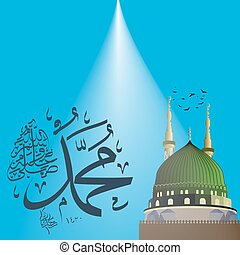 mawlid, nabi, prophète, mohammed, holiday., calligraphie, ...