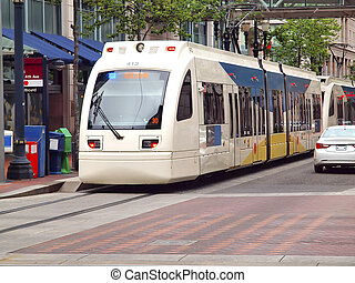 Max light rail transport, Portland - Max light rail crossing...