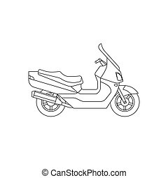 Maxi Scooter line drawing. Vector thin illustrations of...