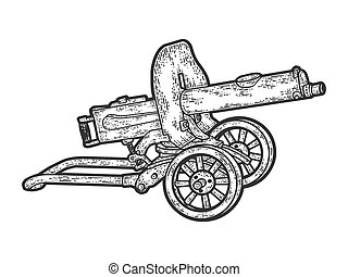 Maxim gun. Engraving vector illustration. Sketch scratch board imitation. Black and white.