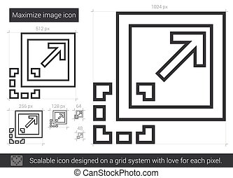 maximaliseren, beeld, lijn, icon.