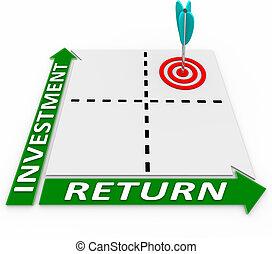 maximera, retur, på, din, investering, pil, matris