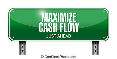 maximize cash flow street sign illustration design over ...