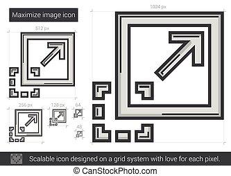 Maximize image line icon. - Maximize image vector line icon ...