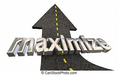 maximize, sucesso, cima, ilustração, aumento, seta, alto, estrada, 3d