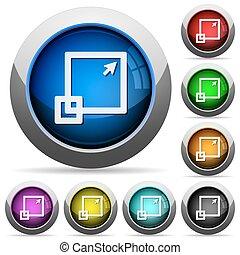 Maximize window button set - Set of round glossy maximize ...