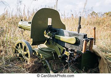 Maxim's Machine Gun Model 1910 30 On A Wheeled Vladimirov's Mount