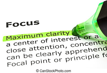 'maximum, clarity', aangepunt, onder, 'focus'