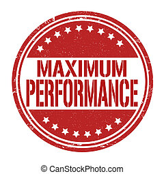 Maximum performance grunge rubber stamp on white, vector illustration