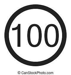 Maximum speed limit 100 sign line icon