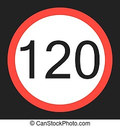 Maximum speed limit 120 sign flat icon