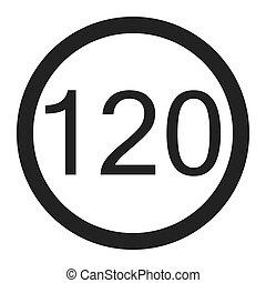 Maximum speed limit 120 sign line icon