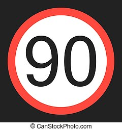Maximum speed limit 90 sign flat icon