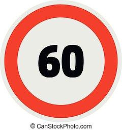 Maximum speed limit icon, flat style.