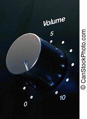 Closeup of a volume knob at maximum setting (10)