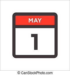 May 1 calendar icon w day of month