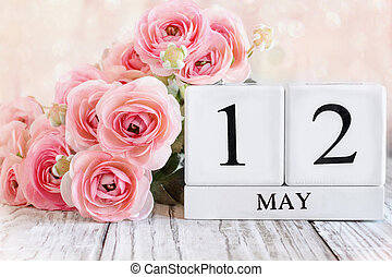 May 12 Calendar Blocks with Pink Ranunculus