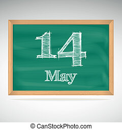 May 14, inscription in chalk on a blackboard - May 14, day ...