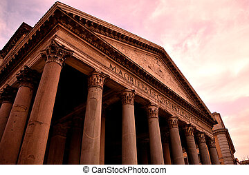 View of the Pantheon closed without tourists due to phase 2 of the lockdown
