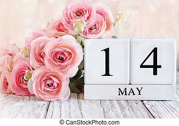 May 14th Calendar Blocks with Pink Ranunculus