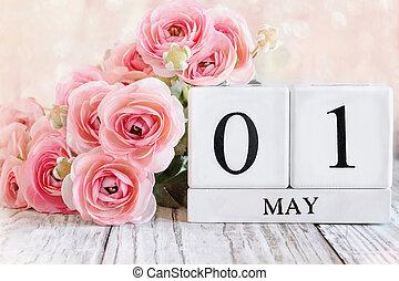 May 1st Calendar Blocks with Pink Ranunculus