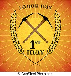 May 1st. Labor Day. Crossed pickaxes and wheat ears